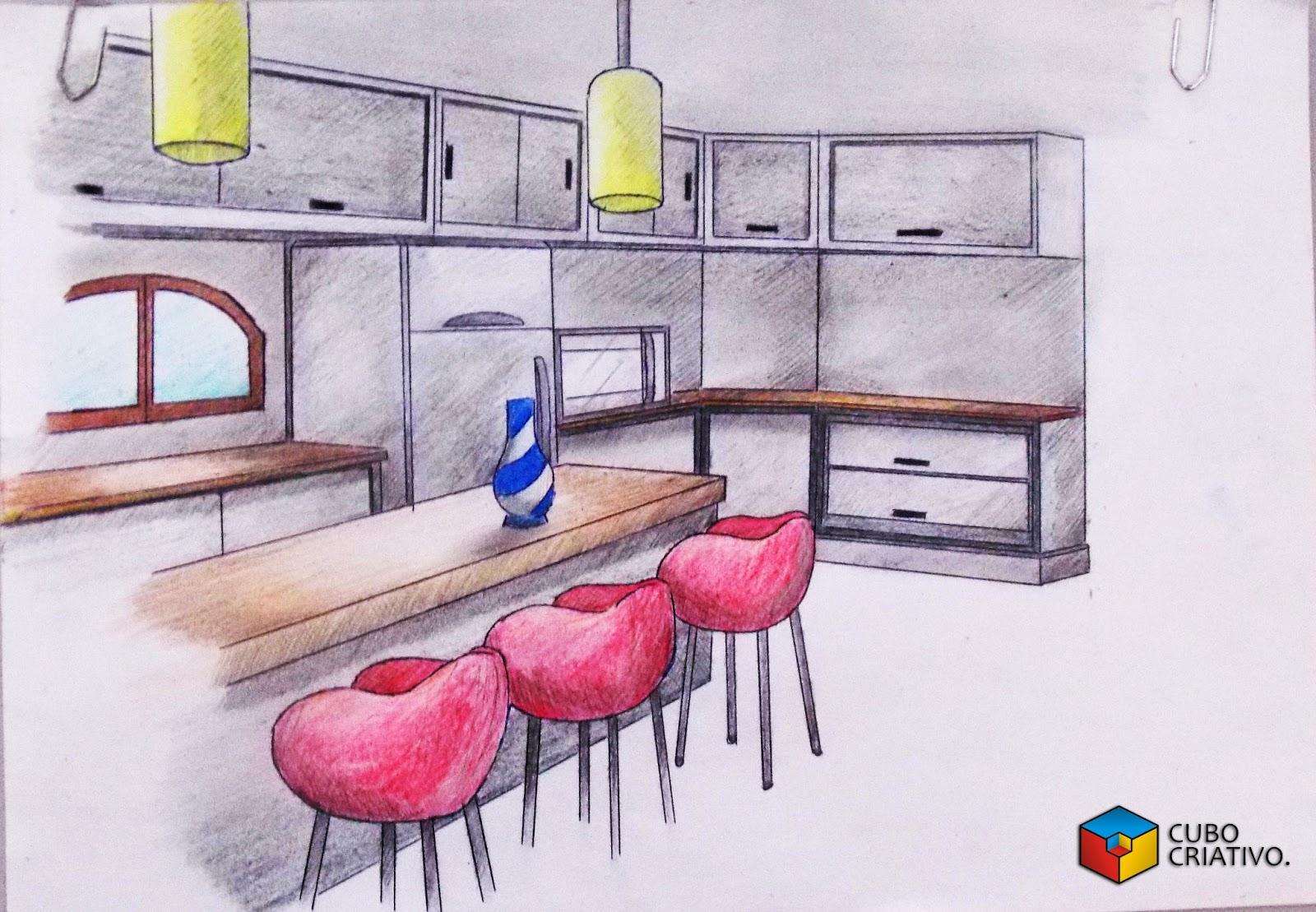 CUBO CRIATIVO DESIGN: Design de Interiores Cozinha #A5264C 1600 1109