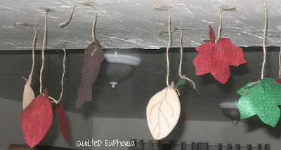 Hanging Felt Leaves from Ceiling