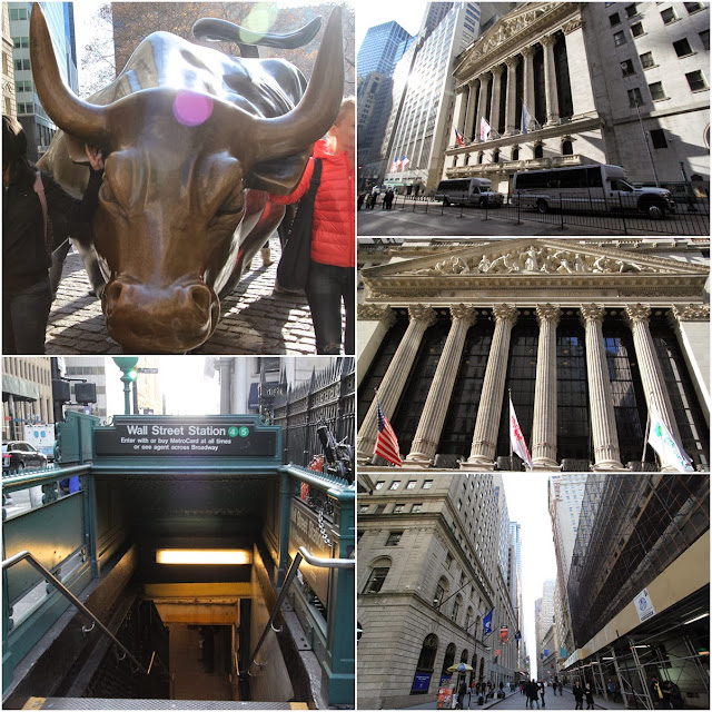 The famous Bull statue and New York Stock Exchange in the Financial District in the downtown of Manhattan, New York, USA