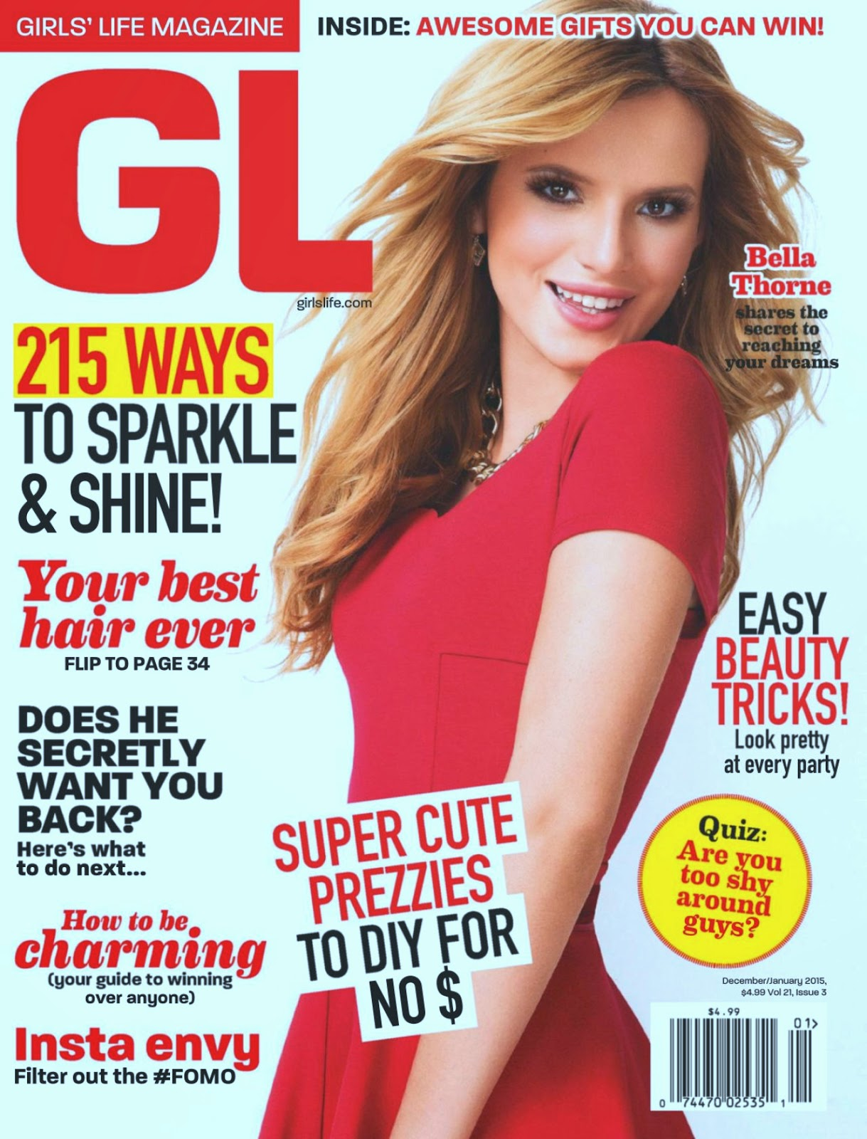 Bella Thorne covers Girl's Life Magazine December/January 2014/15