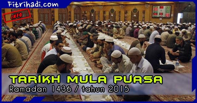 (Info) Tarikh Puasa Ramadan 2015 atau 1436 Masihi