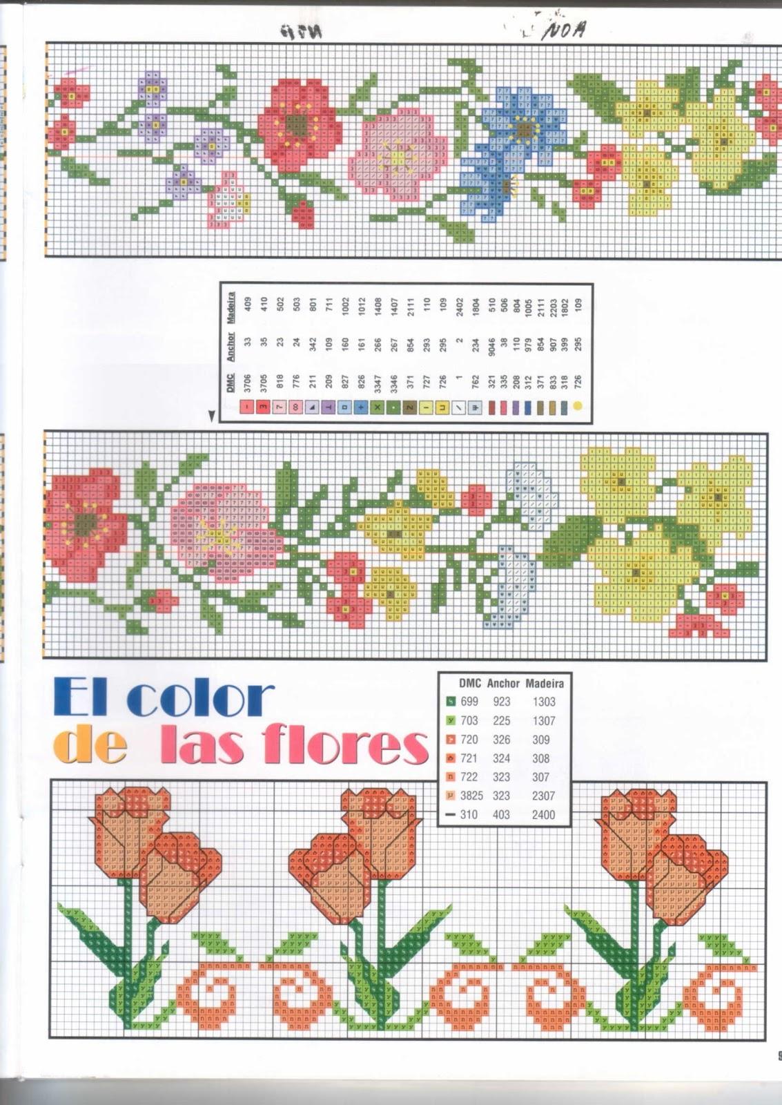 Manualidades bordados de flores en punto de cruz - Cenefas punto de cruz para toallas de bano ...