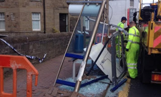Accident damaged bus shelter on Queen Sreeet, Broughty Ferry.