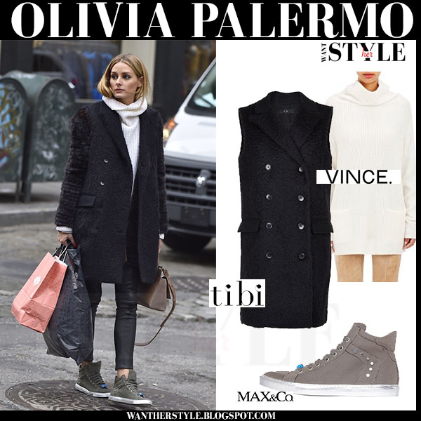 Olivia Palermo in black sleeveless tibi vest, leather pants and khaki sneakers what she wore winter style