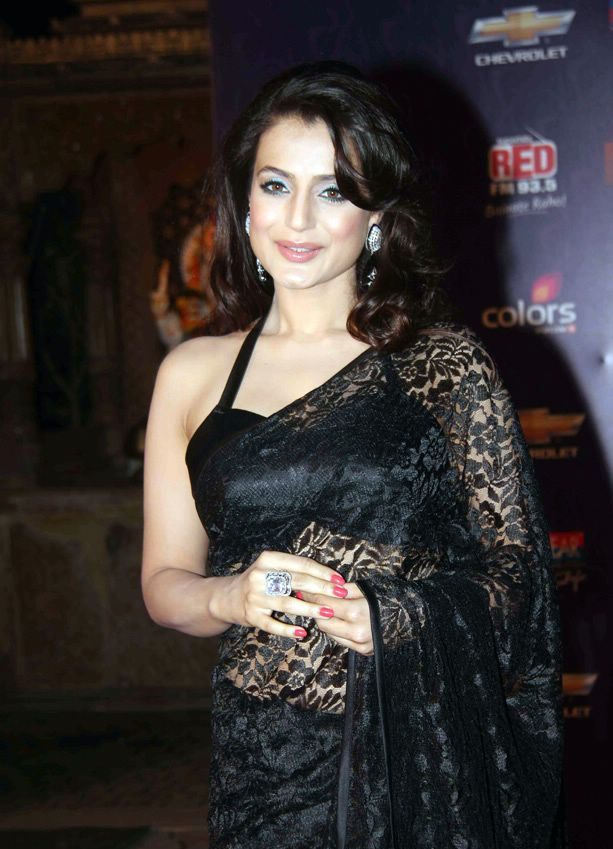 Malai Amisha Patel in Black Saree1 - Amisha Patel in hot Black Saree at Apsara Awards 2012