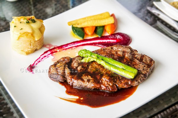 Grilled Sirloin of Wagyu (Australian) - with sauteed spring vegetables, Dauphinoise Potato and Red Wine Demi Glace
