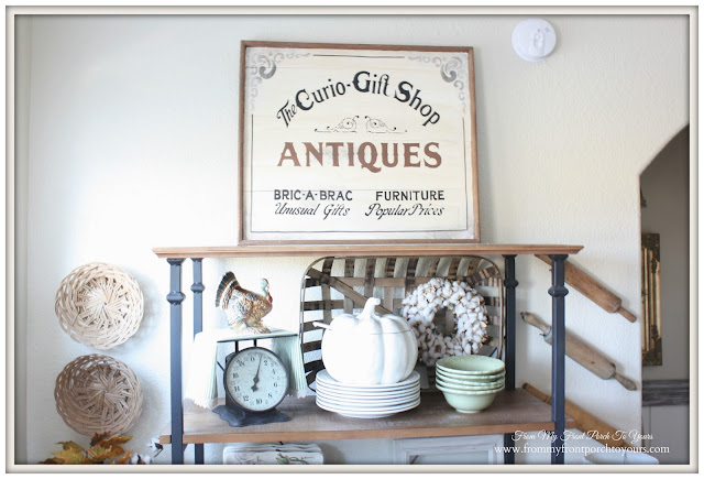 Vintage Inspires Antique Sign-Farmhouse Style- Fall Kitchen-From My Front Porch To Yours