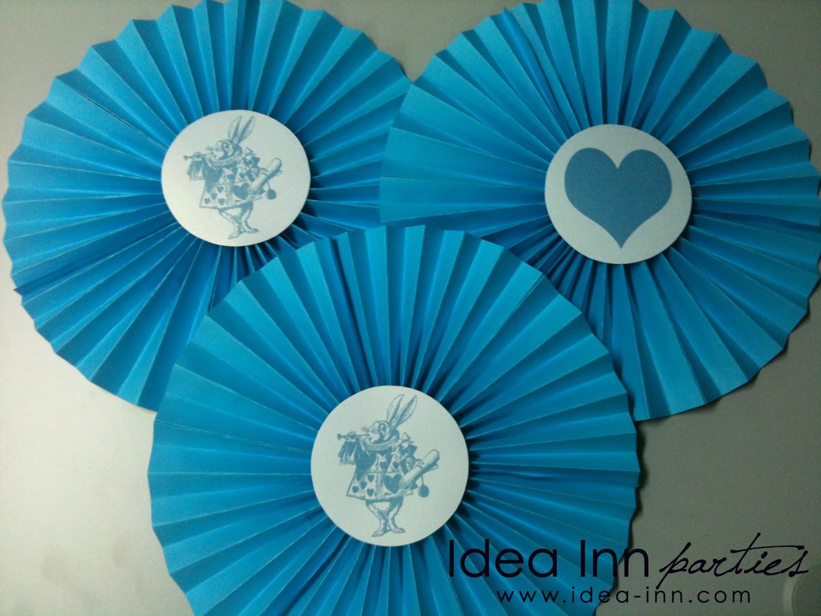Birthday Decoration Ideas Pinwheel Rosette Blue And White Alice In The Wonderland