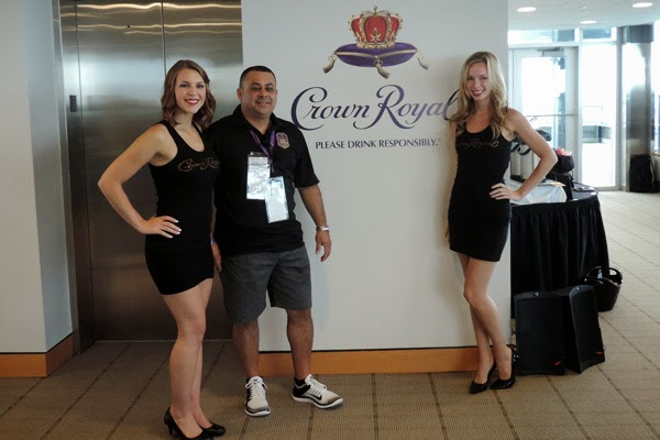 Photo opportunity for Crown Royal guest Vasquez in the Pagoda Hospitality Suite. #crownheroes #jww400 #reignon #nascar