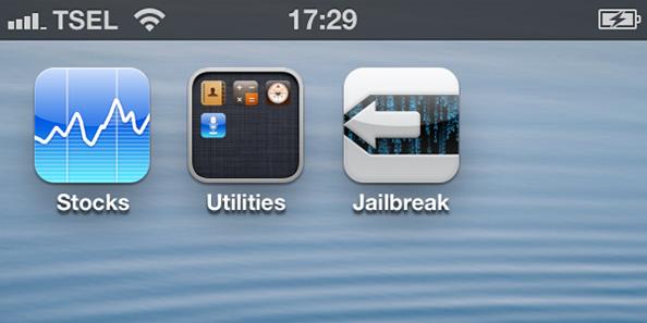... melihat ikon Cydia yang familiar, yang menandakan jailbreak sukses