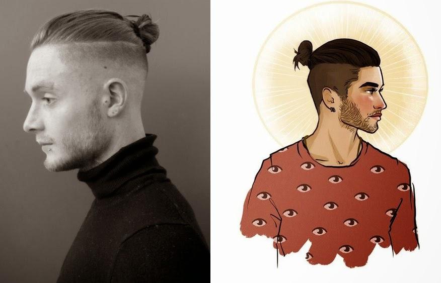 Причёска top knot мужская