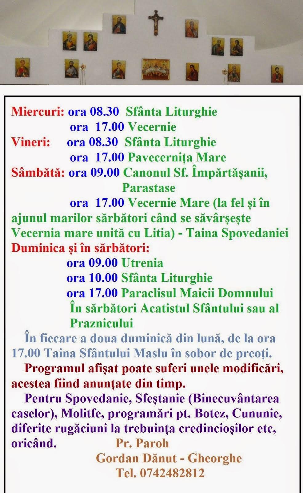 Programul Sfintelor Slujbe