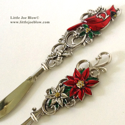Holiday | Christmas Cheese Butter Knives | Poinsettia, Cardinal - sold on http://littlejoeblow.com/HOLIDAY-knives.html by Little Joe Blow Ind.