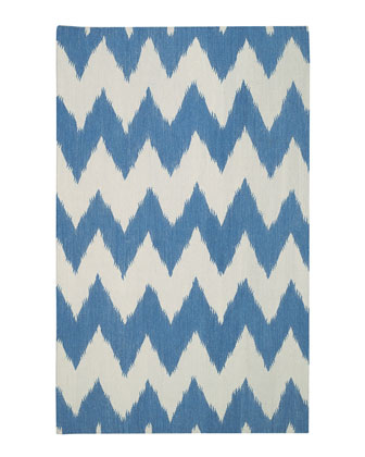 Blue and white chevron printed wool flat weave ikat rug