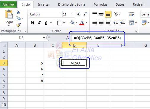 El Aula Ofimática: Funciones lógicas Y y O en Excel