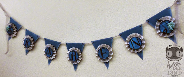banner, pennants, custom, handmade, scrapbooking, paper crafts, medallion, rosette, teal, aqua, turquoise, glitter, music, treble clef, music note, eighth note, celebration, party, party decor, ribbon, flowers, jewels, gems, bling, quartz, Bazzill, Kaiser Craft, Prima Marketing, inking, chalk ink, Alice Scraps Wonderland
