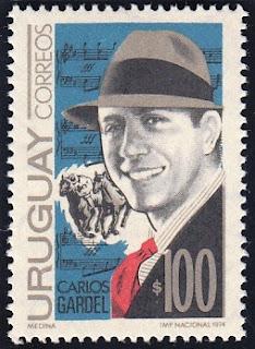 La primera estampilla del mundo en homenaje a Carlos Gardel