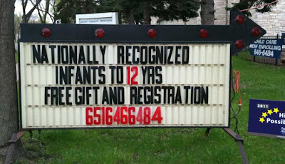 Letter board sign reading NATIONALLY RECOGNIZED INFANTS TO !2 YEARS
