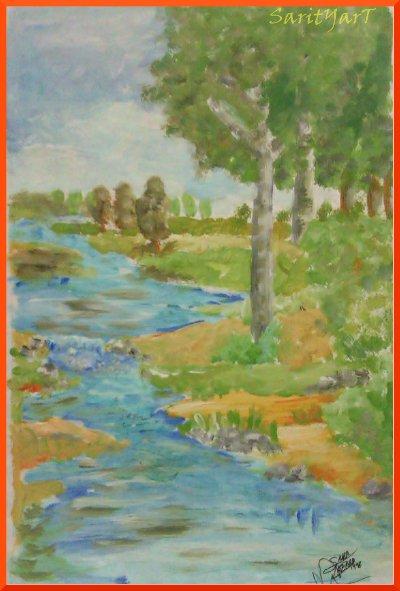 paisaje de rio  pintado con temperas