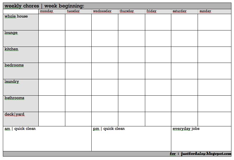printable family chore chart