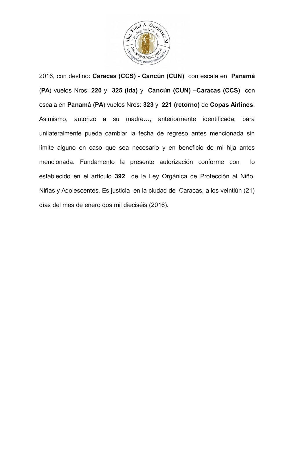 civil familia sucesiones abogados venezuela  modelo permiso viaje exterior menores lopnna