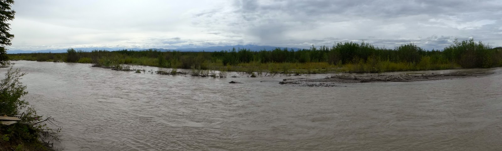 Panorama from the river in Wrangell - St. Elias National Park Preserve