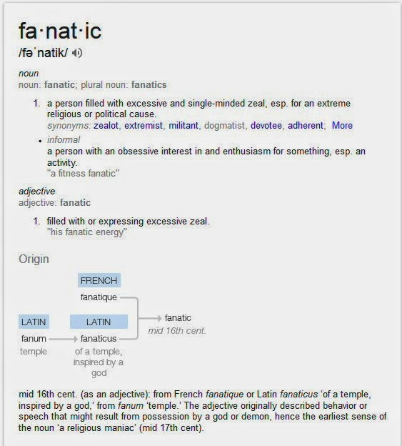 screen shot of the dictionary definition of fanatic