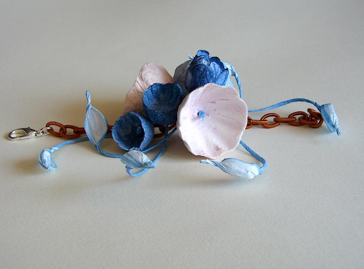 Eco gioielli : bracciale per matrimonio color blu rosa