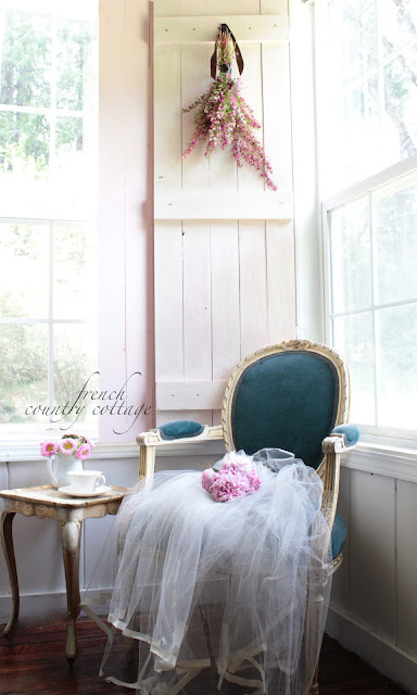 Diy vintage inspired wood shutters french country cottage for French country shutters