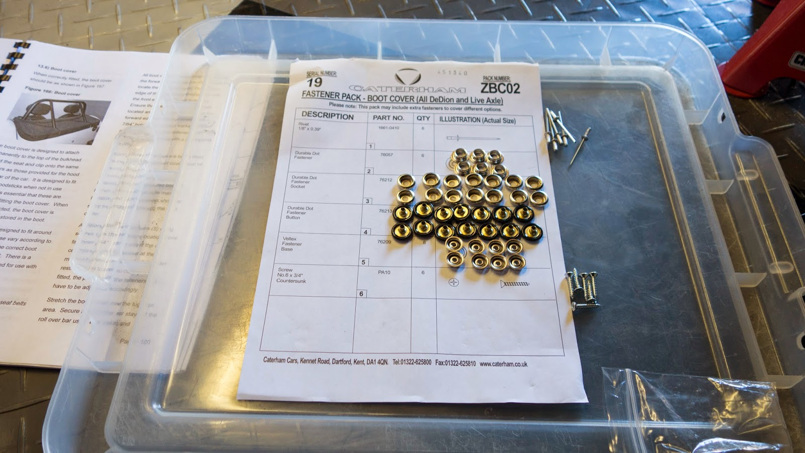 I laid out the dura dot fastener pack to make sure I was using the right ones in the right places.