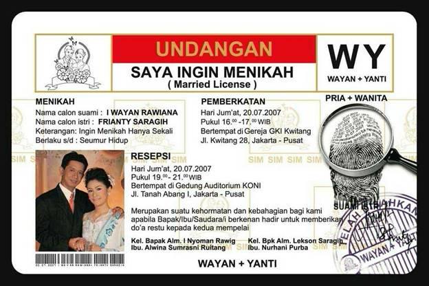 Contoh Undangan Pernikahan Unik & Lucu 2013