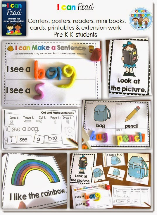 Learn to read centers for Kindergarten
