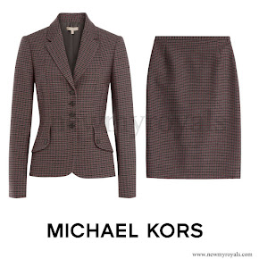 Kate Middleton wore MICHAEL KORS Virgin Wool Plaid Blazer and Skirt