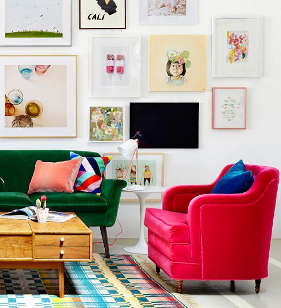 ideia para escritório - parede colorida - quadros e molduras - rodapé colorido