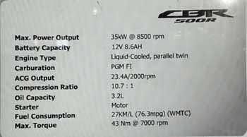 spesifikasi Honda CBR500R 2015