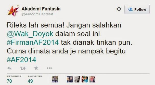 Tidak Benar Wak Doyok Pilih Kasih & Tidak Adil #AF2014