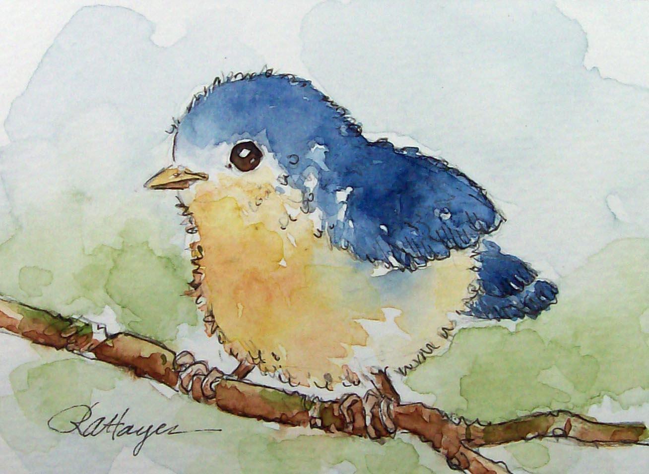 Watercolor paintings by roseann hayes baby bird for Easy watercolor paintings for beginners