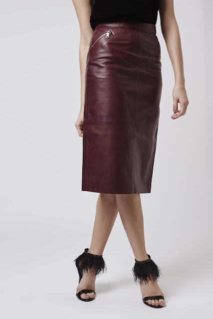 burgundy leather midi skirt, red leather midi skirt, topshop leather midi skirt,
