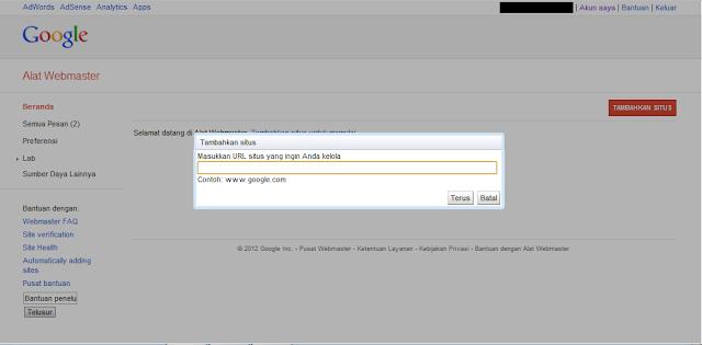 Cara Mendaftarkan Blog ke Google Webmaster Tools - Memasukkan Alamat Domain Blog atau Website