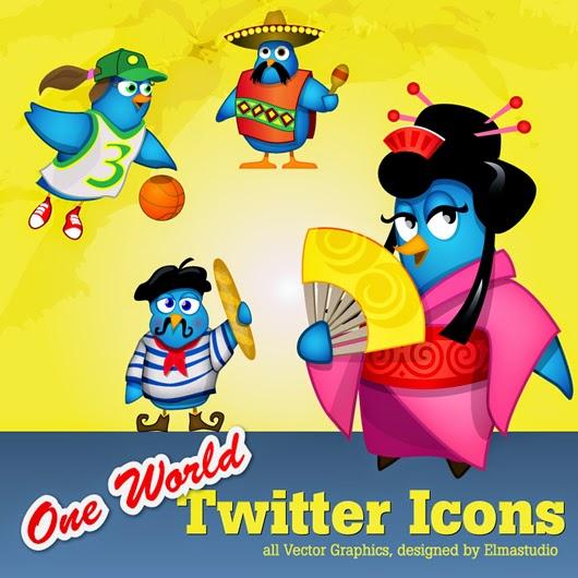 One World Twitter Icons Set
