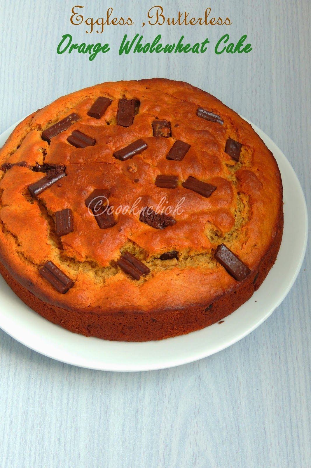 Eggless butterless orange chocolate wholewheat cake