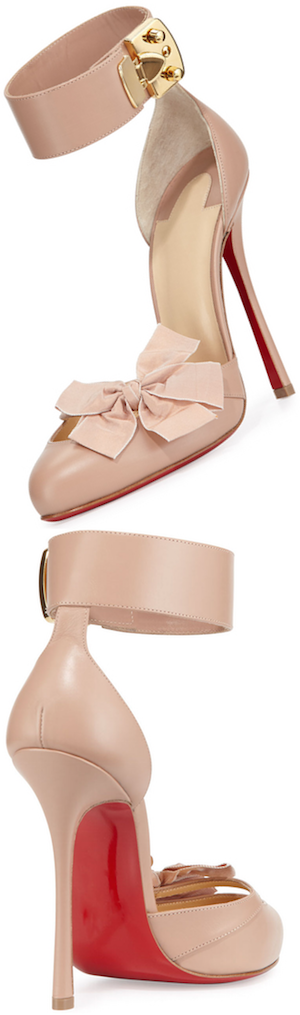 Christian Louboutin Fetish Red Sole d'Orsay Pump, Nude/Golden
