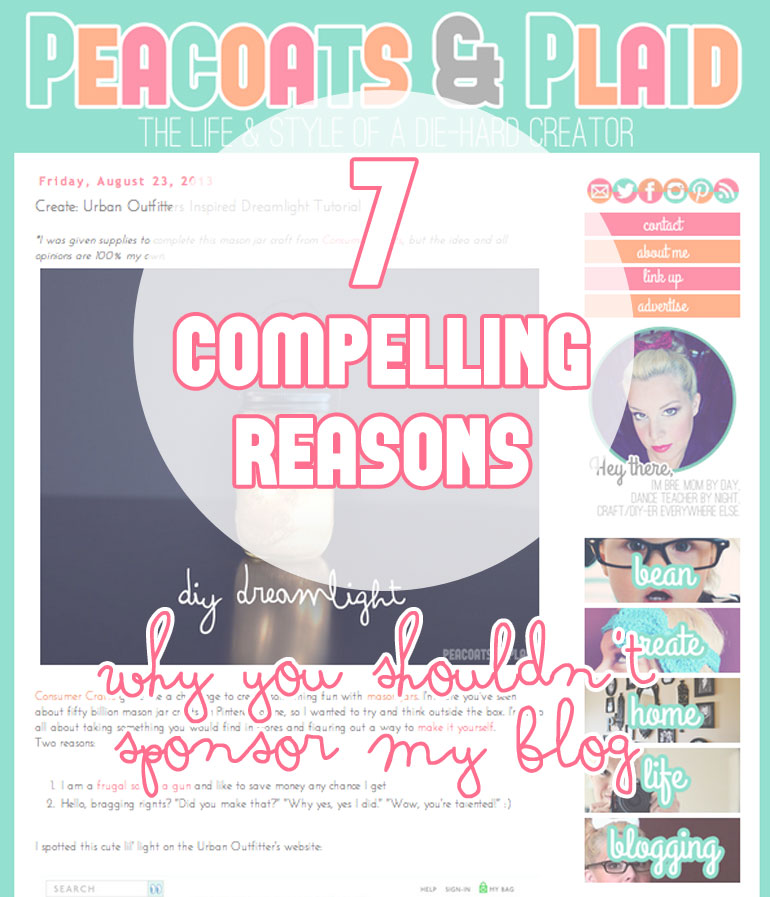 7 compelling reasons why you shouldn't sponsor my blog.