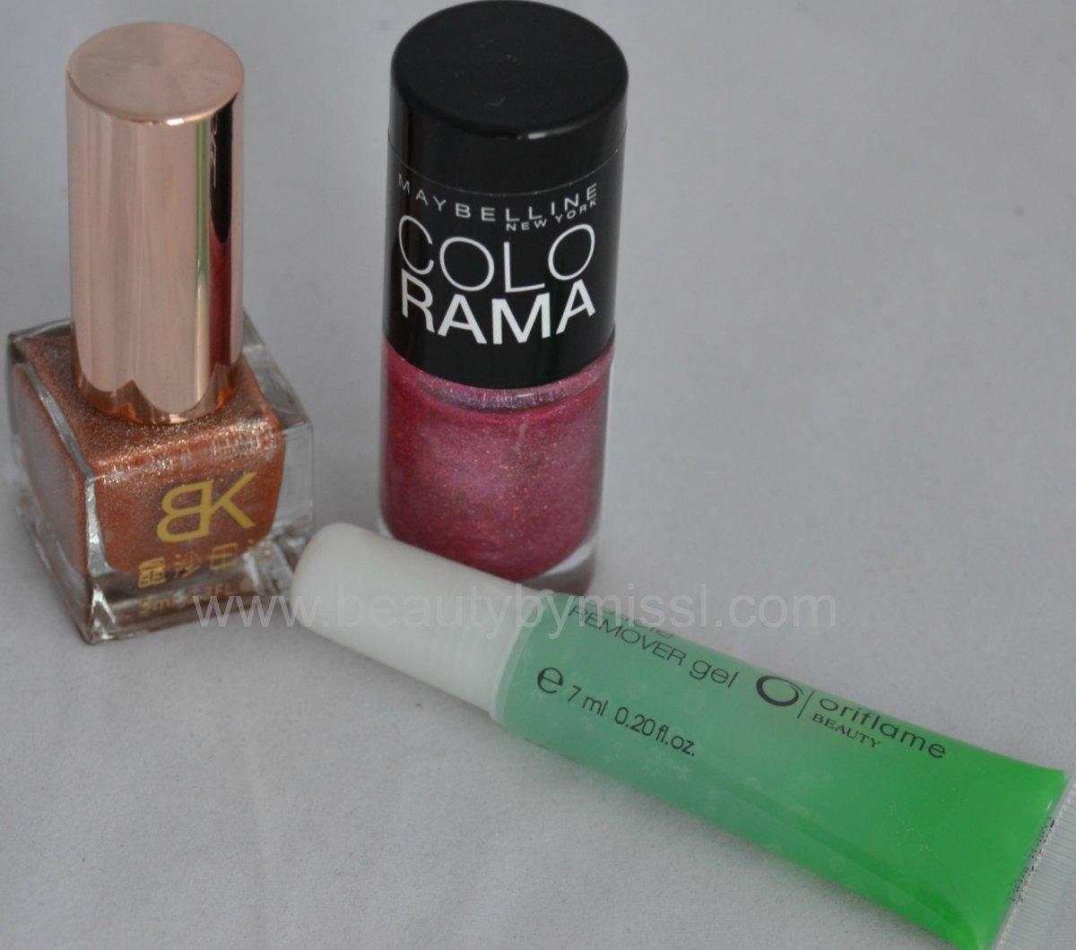 born pretty store nail polish, oriflame cuticle remover, maybelline colorama nail polish