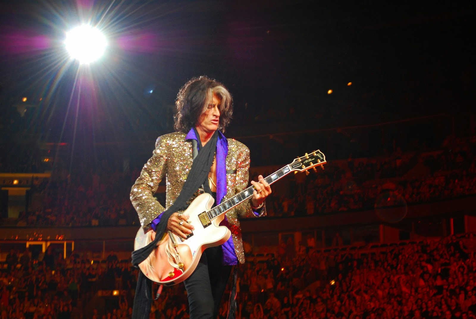 Joe Perry on stage with Aerosmith United Center, Chicago June 2012