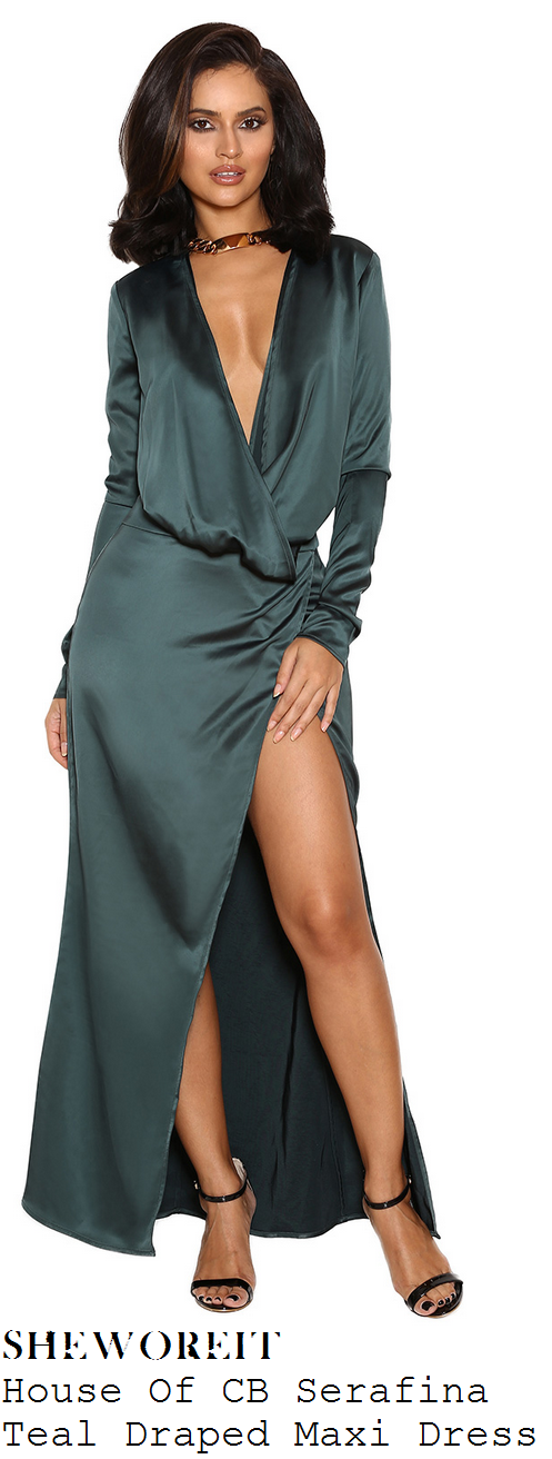 chloe-ferry-dark-green-long-sleeve-draped-plunge-front-spit-satin-maxi-dress-hair-rehab-launch