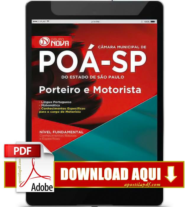 Apostila Porteiro e Motorista Câmara Municipal de Poá 2015 PDF Download