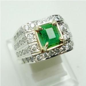 Cincin Batu Permata Natural Emerald Beryl, Zamrud / Jamrud, Jual Harga