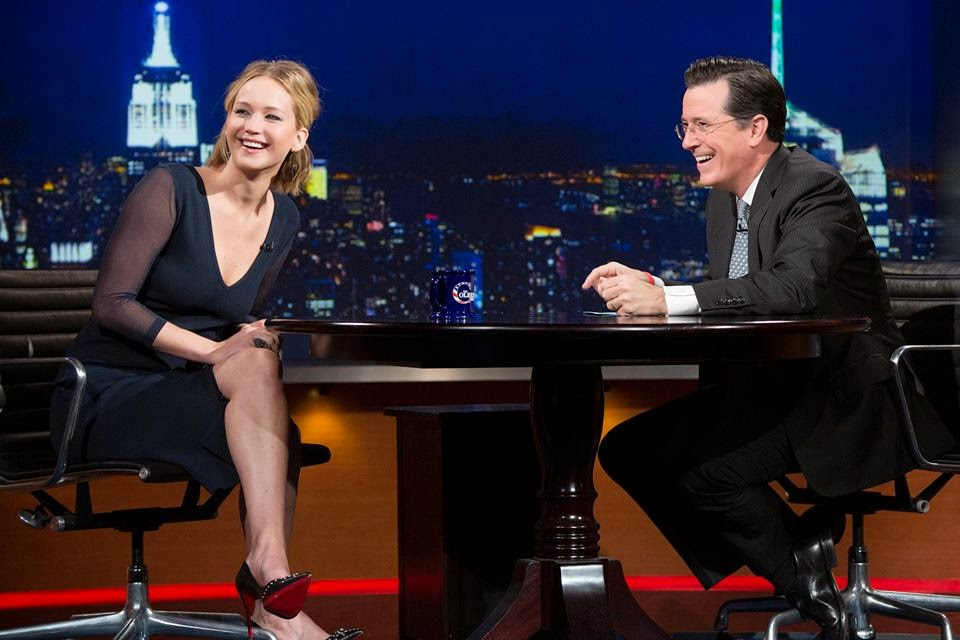 jennifer lawrence the colbert report mockingjay part one hunger games