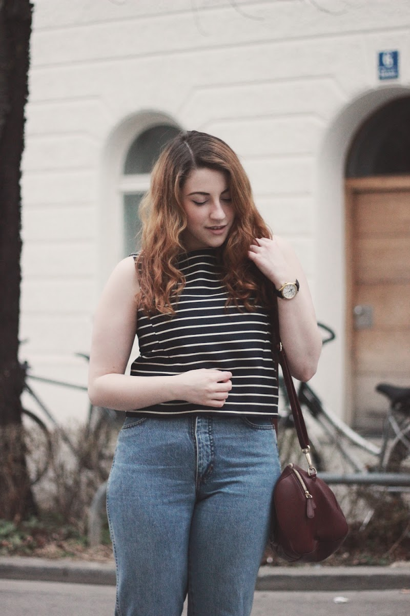 mango cropped striped top